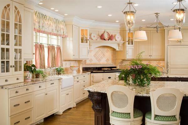 Короткие шторы для кухни в стиле прованс - фото 2016