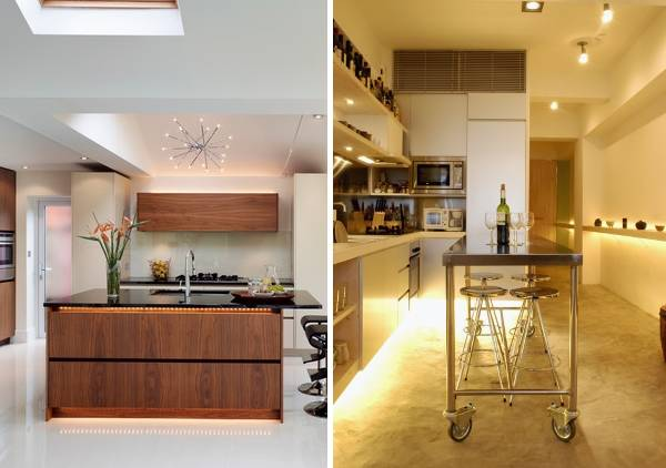 LED подсветка кухни светодиодной лентой - идея дизайна 2016