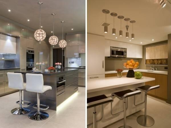 Точечное освещение на кухне с натяжным потолком - фото