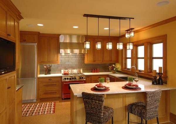 Потолочные и точечные светильники для кухни с натяжным потолком