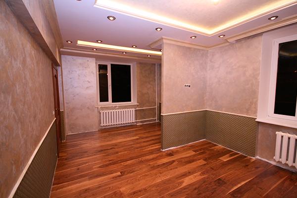 Декоративная краска на стенах в квартире - фото интерьера