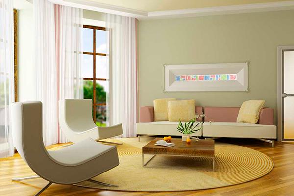 Покраска стен и потолка в квартире - фото зала