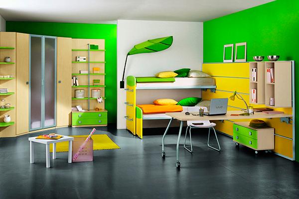 Современная покраска стен в зеленом цвете - фото интерьера