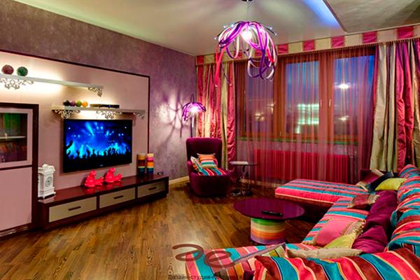 Покраска стен в квартире - фото с декоративной краской металлик