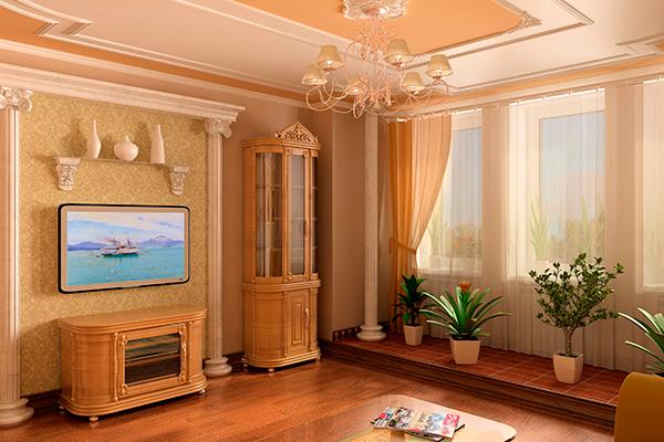 Декоративная лепнина из пенопласта в интерьере гостиной
