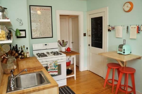 Модные маленькие кухни 2016 - фото в стиле ретро винтаж
