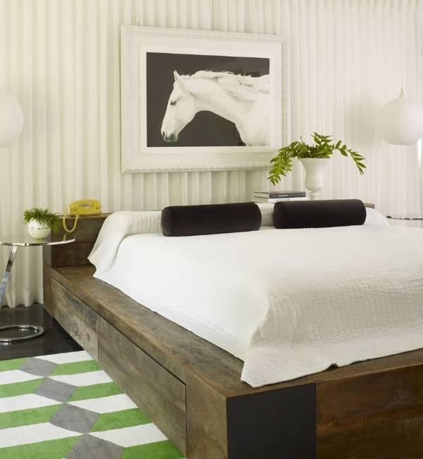 Современный дизайн спальни 2016 в белом цвете и с необычным декором