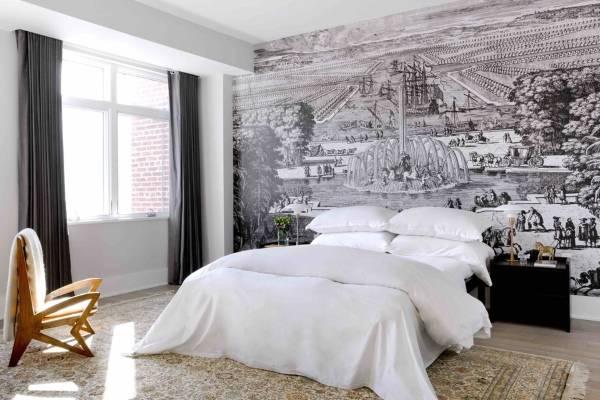 Современный дизайн спальни с красивыми фотообоями