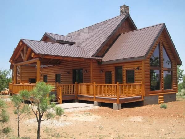 Стильно покрашенные деревянные дома - фото из бруса