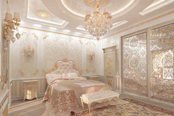 Интерьер спальни с лепным декором в стиле luxury