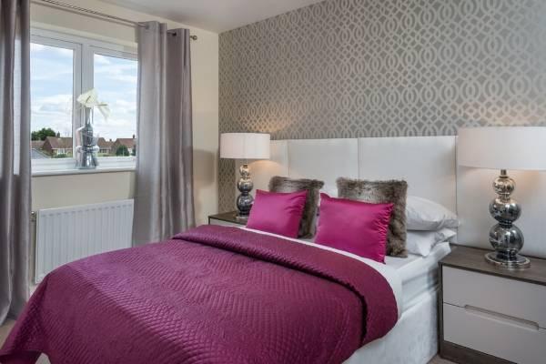 Современный дизайн спальни - фото с красивыми обоями