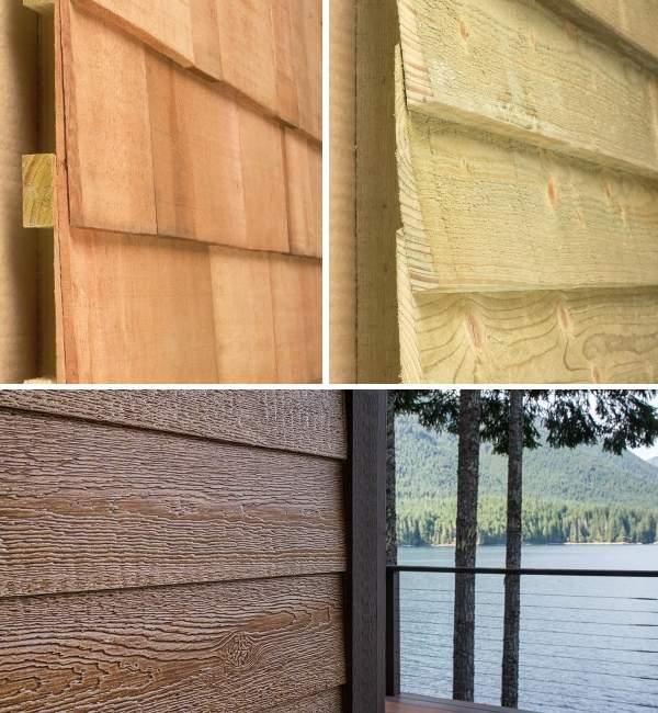 Разные цвета деревянных домов - фото сайдинга из дерева