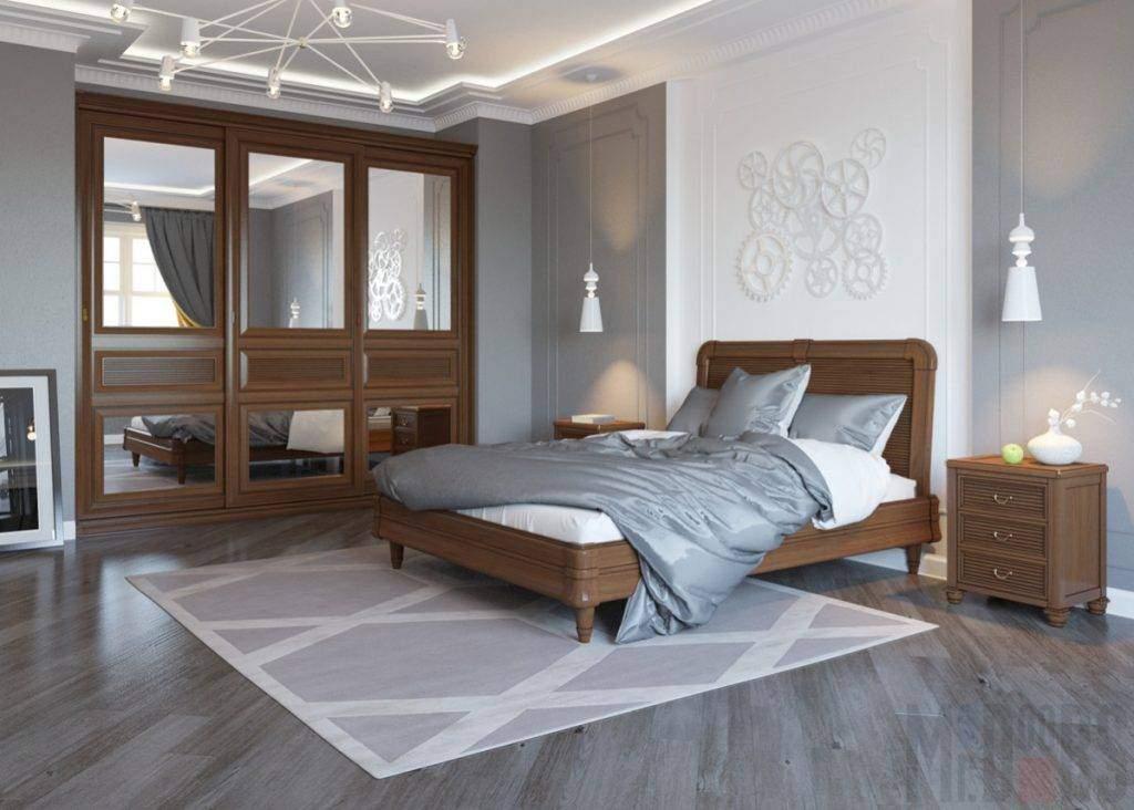 Шоколадный шкаф-купе в интерьере спальни фото 2016