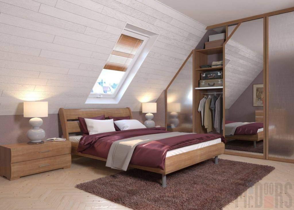 Встроенный шкаф-купе в спальне с мансардным потолком