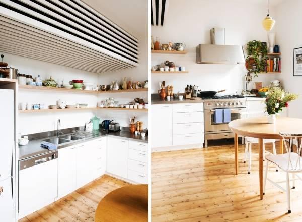 Скандинавский дизайн кухни в хрущевке - на фото с открытыми полками