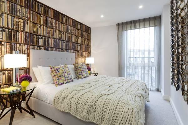 Фотообои в дизайне спальни на фото 2016
