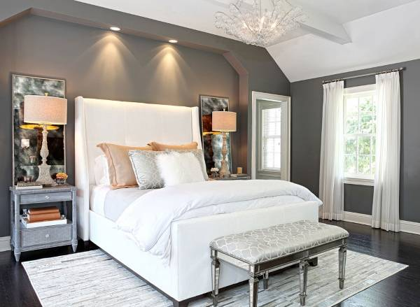 Фото спальни в современном стиле с серой краской на стенах