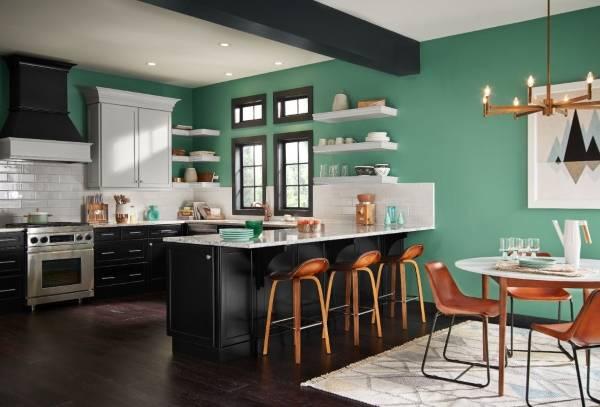 Покраска стен в квартире зеленой краской - фото кухни и гостиной