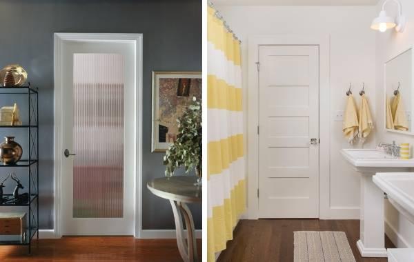 Светлые двери в интерьере с темным полом - фото
