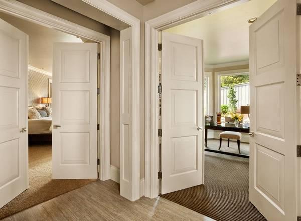 Красивые межкомнатные двери в интерьере - фото в белом цвете