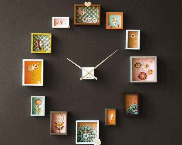 Украшение стен поделками - фото настенных часов
