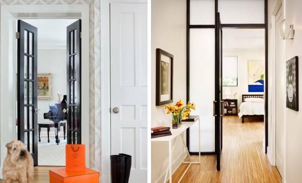 Темные двери и светлый пол в интерьере - фото сочетаний
