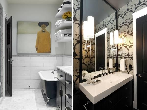Черные двери в интерьере - фото черно-белой ванной