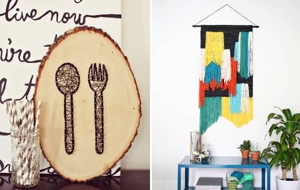 Что можно повесить на стену - 40 идей, декор из ниток и многое другое
