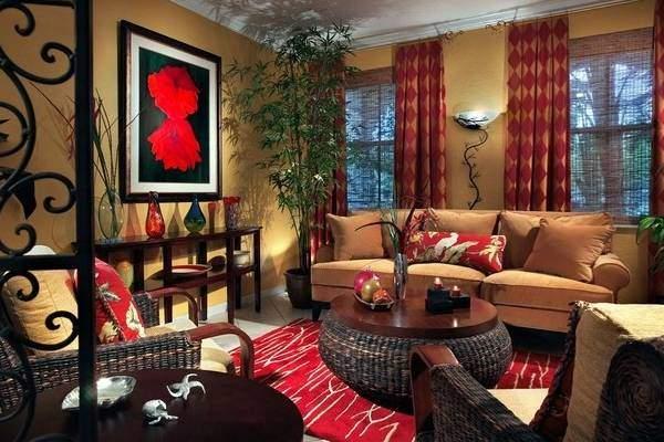 Плетеная мебель из искусственного ротанга в современной гостиной