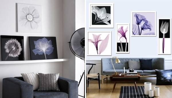 Фото цветов на стенах в дизайне интерьера