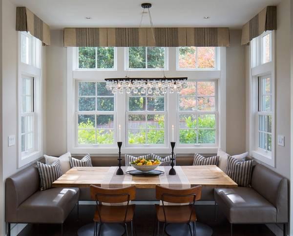 Как подобрать шторы, чтобы оформить эркер на кухне