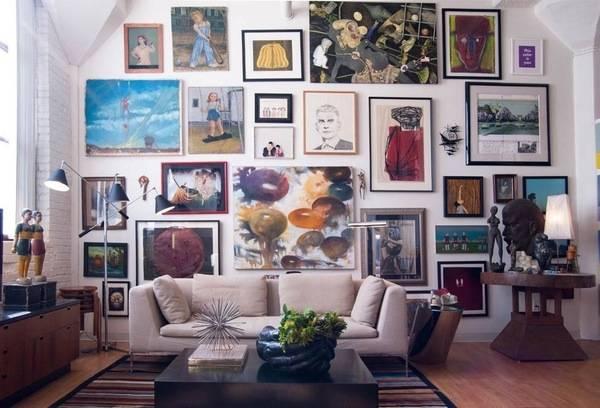 Украшаем стены картинами и рисунками - фото идей