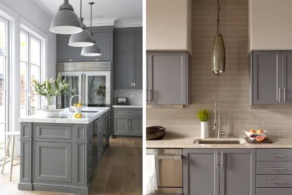 Кухни серого цвета - фото в интерьере в сочетании с бежевым