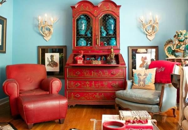Яркие буфеты в интерьере гостиной - фото в красном цвете