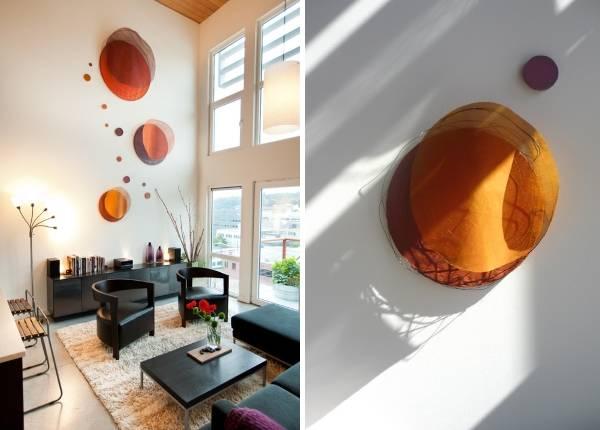 Необычный способ украсить стену в гостиной