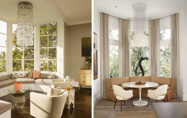 Дизайн кухни гостиной с эркером в стиле luxury