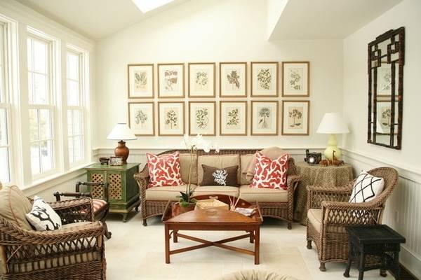 Плетеная мебель из лозы в интерьере гостиной