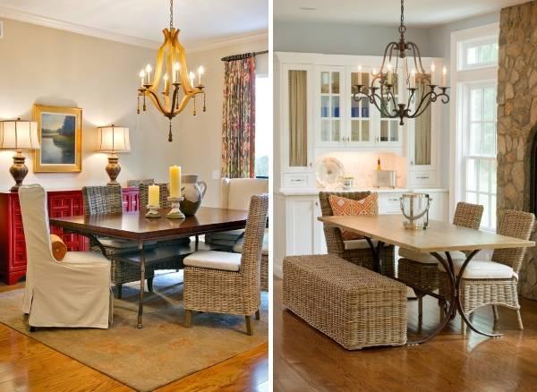 Плетеный стул в дизайне кухни - подборка фото