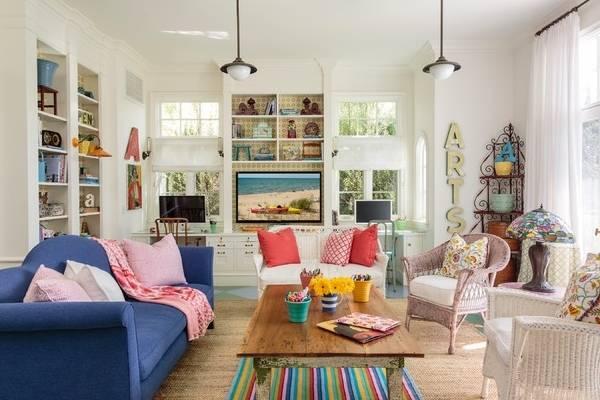 Плетеная мебель - фото кресел в дизайне гостиной
