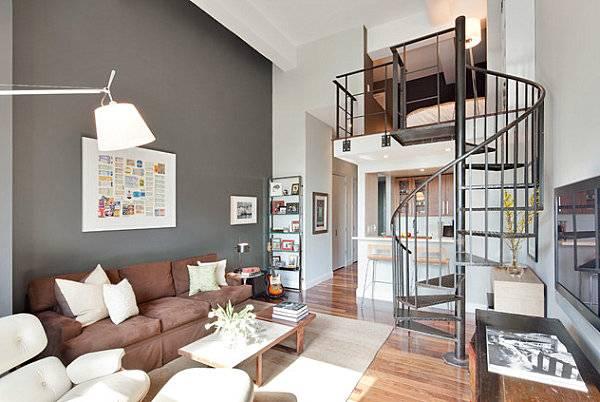 Серо коричневый цвет в интерьере гостиной - фото