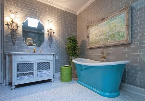 Ванная комната - фото интерьер в серо голубом цвете