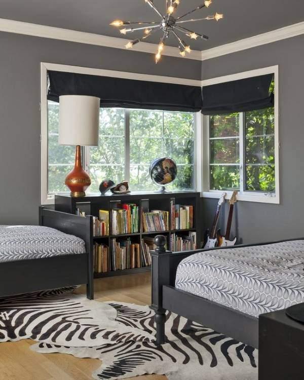 Темно серый цвет в интерьере спальни - фото