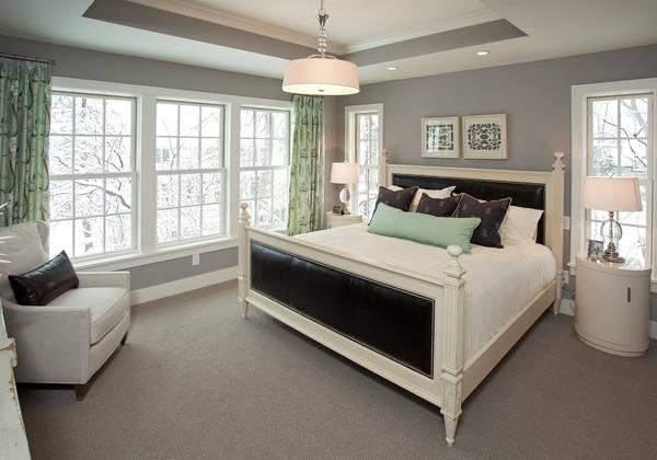 Серый цвет в интерьере спальни - фото в сочетании с зеленым