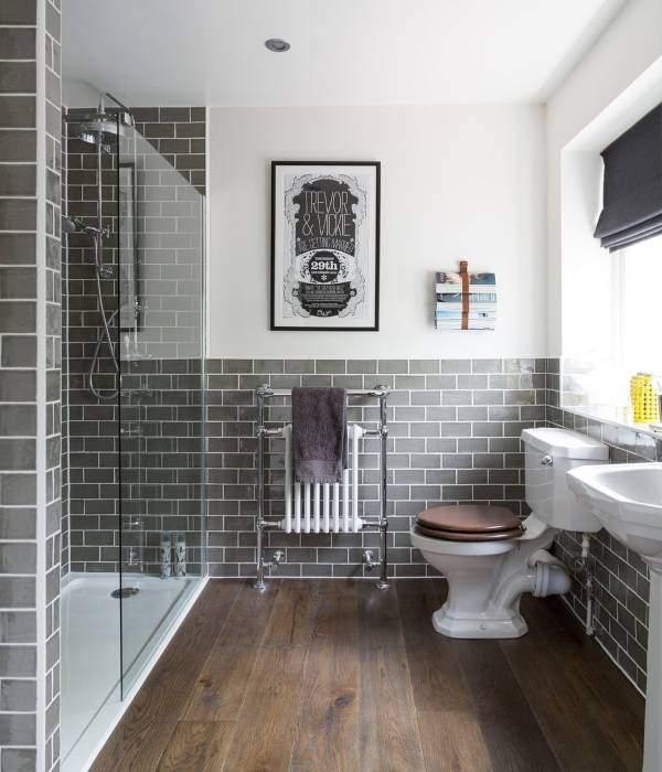 Серый и коричневый цвет в интерьере ванной комнаты
