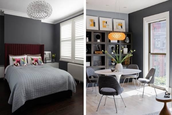 Красивое сочетание серого цвета в интерьере с другими тонами