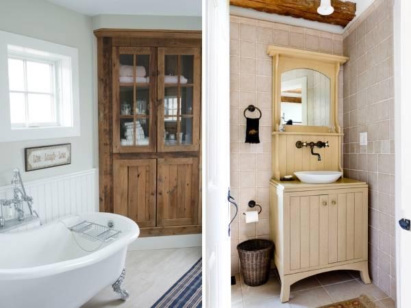 Старый буфет в современном интерьере ванной комнаты