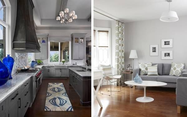 Серый цвет в интерьере кухни и гостиной - подборка фото
