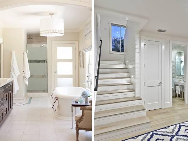 Светлые двери и светлый пол в интерьере - фото дома