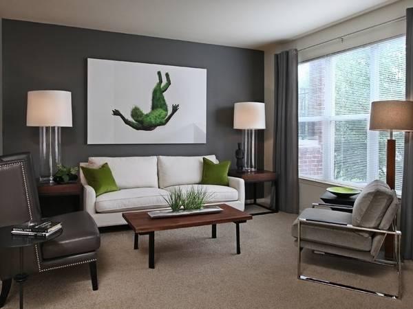 Серый и зеленый цвет в интерьере гостиной на фото