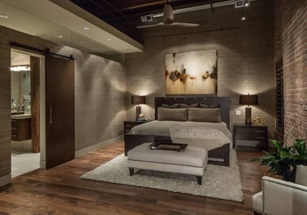 Темное сочетание цвета дверей и пола в интерьере спальни